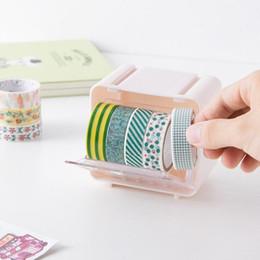 soporte de cinta adhesiva Rebajas 12 PC / porción DIY debe tener plástico cinta adhesiva dispensador Office Desktop Tape Holder