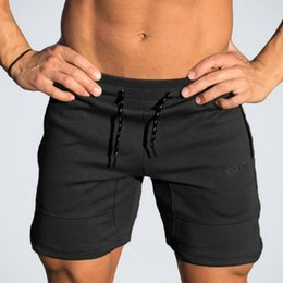 Wholesale Mens Black Spandex Pants - Mens cotton shorts Calf-Length gyms Fitness Bodybuilding Casual Joggers workout fashion sporting short pants Sweatpants Sportswear