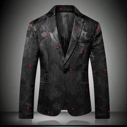 8b5ea22fe1208 Blazer alla moda per uomo Slim Fit 2018 Nero Mens Blazer Pattern stampato  Blaser Homens Mens Suit Suit Suit 6601 sconti modello del vestito del blazer