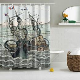 2019 disegni su misura Polipo colorato del poliestere della tenda della doccia di progettazione della nave di navigazione del galeone di attacco del polipo di gallo colorato con 12 ganci Multi-Size sconti disegni su misura