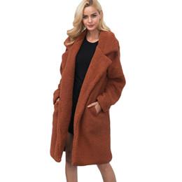 Argentina Mujeres abrigo de piel de invierno de manga larga de piel sintética prendas de vestir exteriores señora chaqueta larga marca mullido Shaggy abrigos caliente Cardigan mujer mujer Suministro