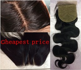 Wholesale Silk Base Hair Closures - 8A Body Wave Human Hair 4x4 Silk Closure Bleached Knot Free Middle 3 Part Silk Base Closure silk closureTop Lace