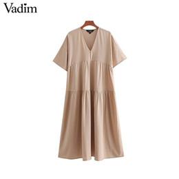 abiti midi in lino Sconti Vadim donne lino oversize midi dress scollo a V  manica corta 09bd17f2555