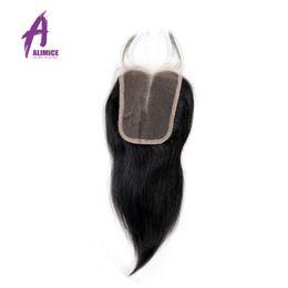 pièce de fermeture du milieu Promotion Alimice Cheveux Dentelle Indienne Cheveux Raides Fermeture 4X4 Fermeture Partie Centrale Avec Bébé 100% Dentelle Suisse Humaine
