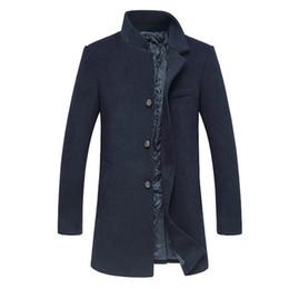 2019 mens trench coat xs Cappotto di lana a maniche lunghe con cappuccio da uomo di marca 2017 giacche e cappotti da uomo in lana soprabito invernale giacca da trincea 160cy mens trench coat xs economici