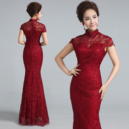 red chinese wedding dress Coupons - Wine Red Lace Wedding Cheongsam Modern Chinese Traditional Dress Qipao Evening Dresses Long Qi Pao Formal Vintage Robe Chinoise
