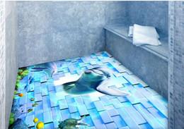Wholesale bathroom vinyl flooring - waterproof PVC Wallpaper Dolphin brick wall three-dimensional floor pvc vinyl flooring bathroom