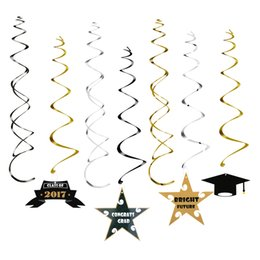 Wholesale Foil Banner - 30pcs Graduation Ceiling Hanging Foil Swirls Banner Foil Dangling Streamers Spiral Ornaments Wedding Birthday Party Supplies