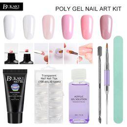 Wholesale Poly Crystal - 6pcs set Nails Extension Crystal Jelly Poly Gel Set Builder UV Gel for Nails Art Manicure Design Quick Builder Extension
