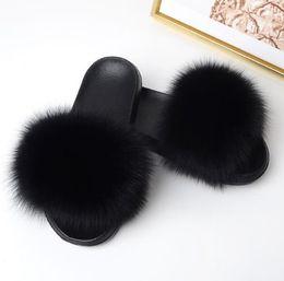 Меховая натура онлайн-Women Summer Slippers Flat  Fur Slippers Nature Real Fur Beach Slippers Flat Slides Beach Sandals Lady Plush Furry Slides