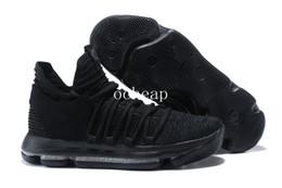 Wholesale Kd Shoes Sale - Free Shipping KDX Triple Black Basketball Shoes Mens KD 10s Black Sneakers For Sale Size US 7-12