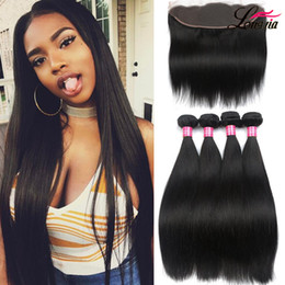 Wholesale Double Weft Weave Straight - Brazilian Virgin Hair Straight with lace Frontal 4Pcs Ear to Ear Lace Frontal Closure straight Virgin Hair 13x4 Frontal With Bundles Deals