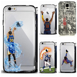 Wholesale painted basketball - 2018 Curry Kobe James basketball man phone case for iphoneX 8plus S8 note5 soft TPU  PC cover fashion painting defender cases Customize DHL