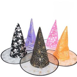 Wholesale Carnival Hats Wholesale - New Devil Halloween wizard hat Scary Ghost Cosplay Prank Prop For Costume Carnival Halloween witch magician hat #03