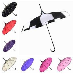 Wholesale umbrellas for kids - Pangoda Shape Design Umbrella For Kids Adults 8 Colors Optional Long Handle Sun Rain Umbrella High Quality NEW NNA386