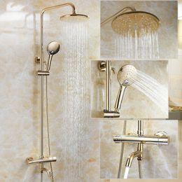 messing regendusche köpfe Rabatt Gold Farbe Bad Thermostat Duscharmatur Set Wand Runde Design Regen Duschkopf Messing Material