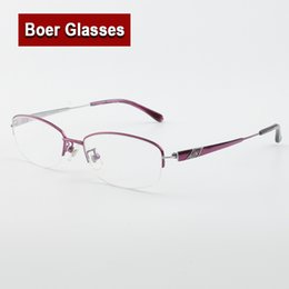 5ed5712c81 Hot sale Fashion Women s Pure Titanium Eyeglasses Halfrim Optical Frame  Prescription Spectacle Reading Myopia Eye Glasses LB6627