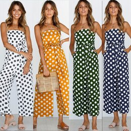 Wholesale women sexy jumpsuits wide leg - Sexy Women Jumpsuits New Summer Arrival Cute Retro Polka Dot Printed Jumper Sexy Shoulder-straps Ninth Wide-leg Suits
