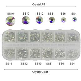 Wholesale Hot Fix Crystal Designs - High Quality rhinestone nails tips 1 Case Crystal Rhinestones Nails Tips Clear AB No Hot Fix Glue DIY Glitter Designs Nail Art