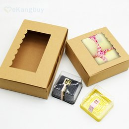 Wholesale Window Cookie Boxes - 25pcs Kraft Paper Box with Clear Window Candy Cookie Egg Tart Packaging Box DIY Wedding Party Gift Boxes