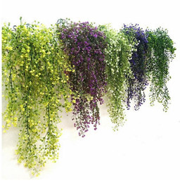 piante fiorite di vite Sconti Hoomall Verde Viola Artificiale Pianta Seta Rattan Parete Fiore Pianta Decorazione della festa nuziale Fiori finti Vine Decorazione della casa GA603