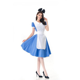 mulheres vestido colonial Desconto Alice No País Das Maravilhas Partido Cosplay Anime Sissy Maid Uniforme Doce Lolita Vestido Trajes de Halloween Para As Mulheres