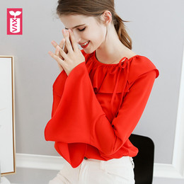 Wholesale womens office blouse - Export Brand Sweet Office Lady Buerfly Neck Red Big Flare Long Sleeve Blouse Womens Shirts Girl Loose Tops Tees Summer