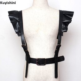 Wholesale Sexy Clips Woman - Sexy Nightclub PUNK Luxury Clip Belts Women PU Leather Suspenders Clips Lady Belts Hip Hop Bandage Ruffles Good Quality
