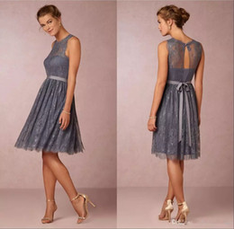 Wholesale Grey Knee Length Bridesmaid Dresses - 2018 Knee Length Bridesmaid Dresses Grey Lace A line Bridesmaids Gowns with Sash Vintage Sheer Crew Neck Wedding Guest Party Dresses Cheap