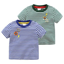 Wholesale Striped Shirt For Kids - 2018 Summer T shirt Short sleeve for boy Kids Fox Stripes Tees Tops Children clothing Boutique clothing