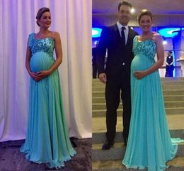 Wholesale Pregnant Woman Art - 2018 New Maternity Evening Dresses Party Wear One Shoulder Applique Long Chiffon Prom Gowns for Pregnant Women