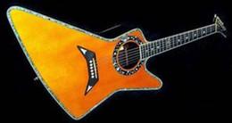 Guitarra con agujero de sonido online-Rare Matthias Jabs EX 90/2000 Explorer Guitar Guitarra eléctrica acústica Tapa de espuma sólida, Encuadernación de cuerpo de abulón, Estrellas Planetas Sound Hole Binding