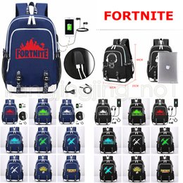 Wholesale thermal clothing fabric - 18 Styles Fortnite Battle Royale Shoulder Backpack USB Charging Laptop Travel Casual School Storage Bag Teenagers Student Kids AAA625