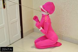 Costume di costume rosa online-2015 Divertente Pink Spandex Lycra Zentai Suit Sexy Women Catsuit All-inclusive Tights Costumi tuta