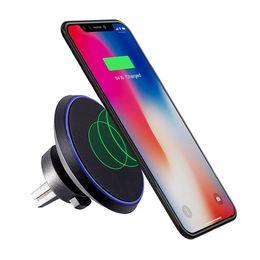 2018 беспроводное автомобильное зарядное устройство зарядки вентиляционное отверстие держатель 360°вращающийся регулировка 5V/2A для iPhone 8 X Samsung Galaxy S8 с пакетом от