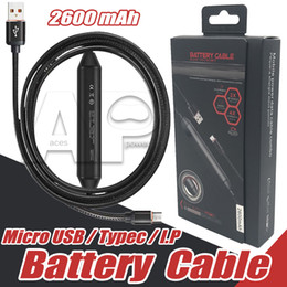 Wholesale Battery For Android Phone - Power Bank 2600mah Power Bank Built in Cable Battery Charging For Type C Micro usb Cable PowerBank For Android Samsung zte Mobile Phone