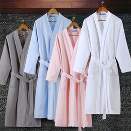 Wholesale sexy robe men - On Sale Lovers Summer Suck Water Kimono Cotton Bath Robe Men Plus Size Sexy Waffle Bathrobe Mens Dressing Gown Male Lounge Robes