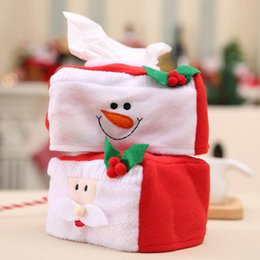 Wholesale tissue box santa claus - Merry Christmas Tissue Box Cover Santa Claus Snowman Cover Christmas Decoration for Home Xmas Table Ornament