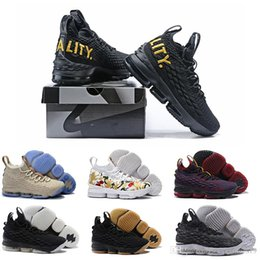 Wholesale Fingers Shoes - (with box) 2018 Lebron 15 Men Basketball Shoes Black Gold Sports lebron Shoes Mens Running Trainer Shoe High Quality James 15 Sneakers 40-46