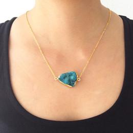 Wholesale Plastic Rocks - 2018 Fashion Irregular Rainbow Stone Natural Crystal Chakra Rock Necklace Gold Color Chain Quartz Pendant Necklacefor for Women