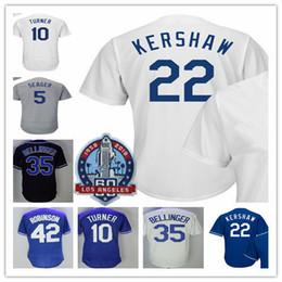 Wholesale Clayton Baseball - 2018 Los Angeles 60th Anniversary Jerseys Justin Turner Cody Bellinger Clayton Kershaw Corey Seager Jackie Robinson baseball Jerseys