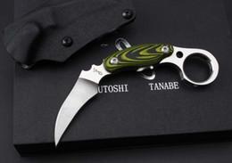 Militär messer geschenk online-Japan Kazutoshi Tanabe Green Ghost Karambit D2 60HRC Taktische Camping Jagd Überleben Taschenmesser Military Utility EDC Geschenk Messer