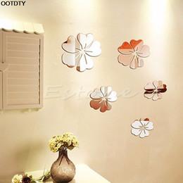 quarto de parede para crianças Desconto Adesivo de parede Espelho Quente Estilo Flores Decalque Removível Art Vinyl Adesivo De Parede Decoração Da Casa
