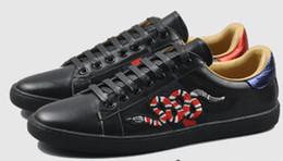 2019 повседневная обувь на высоком каблуке Ace обувь дизайнер обувь Белая кожа повседневная кроссовки 100% кожа Bee вышивка горный хрусталь обувь на высоком каблуке женщины натуральная кожа кроссовки дешево повседневная обувь на высоком каблуке