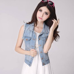 Wholesale Women Blue Jean Vest - Spring Denim Vest Women Casual Colete Coat Vintage Cardigan Jean Sleeveless Turn-down Collar Breasted brand Woman Clothing ZY965