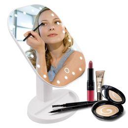 2019 espelhos dobráveis Maquiagem Espelho LED Rotação 180 Graus espelho compacto 10X Ampliar Folding Touch Screen vaidade iluminado Com 20 DIODO EMISSOR de Luz Espelhos de maquiagem desconto espelhos dobráveis