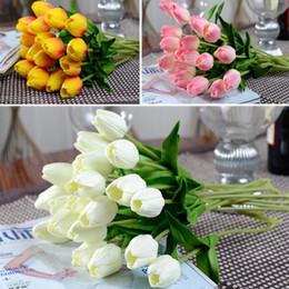 Wholesale Plants Lilies - 13 Colors PU Tulips Flower Home Decor Fake Flowers Calla Lily Artificial Plants Party Decorations Wedding Bouquets 37cm*2.5cm