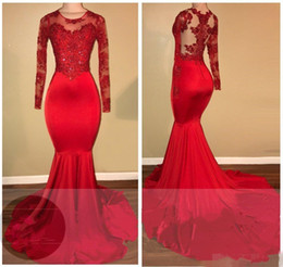 2K18 Vintage Sheer Long Sleeves Red Prom Dresses Mermaid Appliqued paillettes African Black Girls 2018 Nuovi abiti da sera Red Carpet Dress da lunghe immagini gonne formali fornitori
