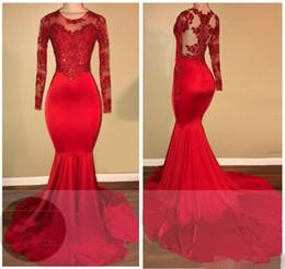 2K18 Vintage Sheer Manches longues robes de bal rouge sirène Appliqued paillettes africains noirs 2018 nouvelles robes de soirée robe de tapis rouge ? partir de fabricateur