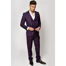 60f82e8f125 (Jacket+Pants+Vest) 2017 Dark Purple Men Suits Cool Lapel Design Men s  Party Prom Tuxedo Handsome Marriage Groom Wedding Suit